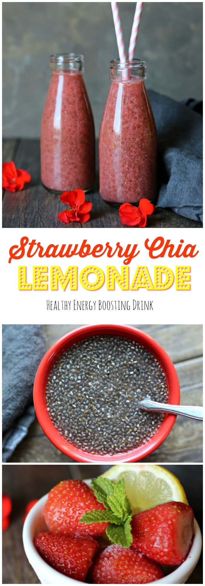 This invigorating Strawberry Chia Lemonade is a delicious healthy and energy boosting drink. A must try! gardeninthekitchen.com