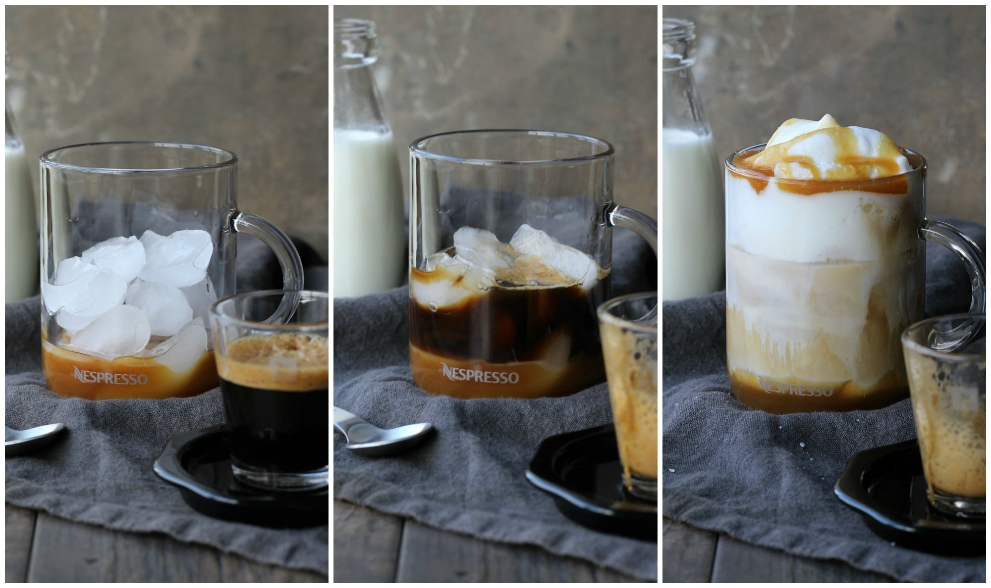 Iced Caramel Macchiato shown in a clear glass cup with caramel sauce and ice cubes then added with espresso, milk froth and more caramel sauce