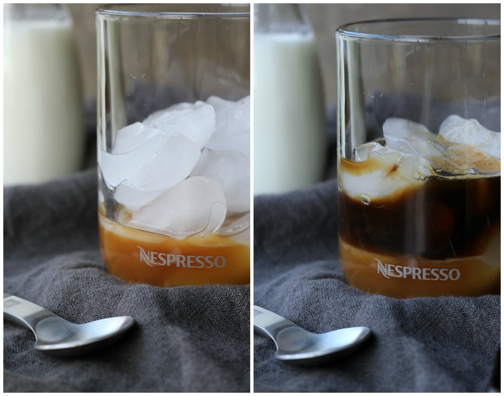 A glass with caramel sauce and ice cubes and another with espresso added