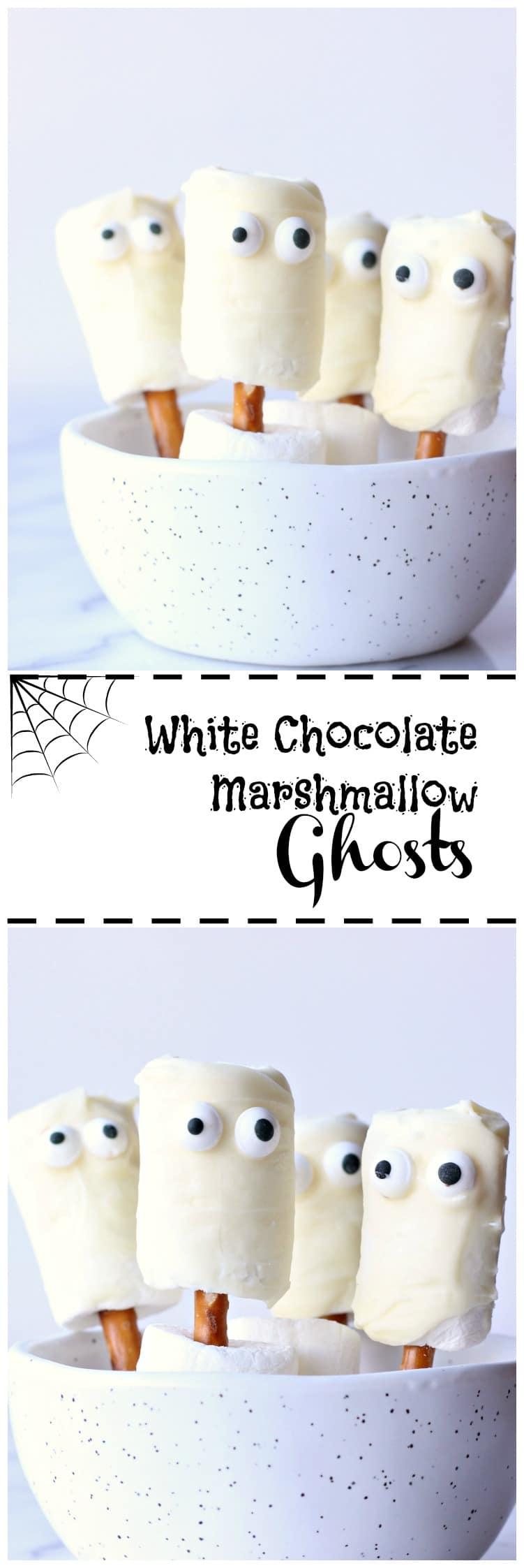 White Chocolate Marshmallow Ghosts | gardeninthekitchen.com