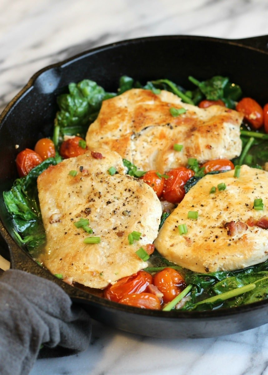 Easy Chicken Pancetta with fresh Spinach and Cherry Tomatoes | gardeninthekitchen.com