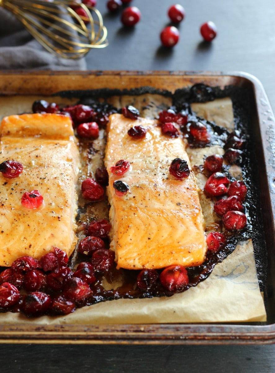 Maple Soy Cranberry Salmon | gardeninthekitchen.com