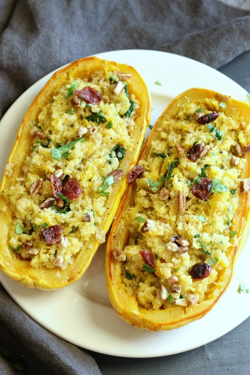 (Vegan + Gluten-free) Quinoa & Spinach Spaghetti Squash | gardeninthekitchen.com