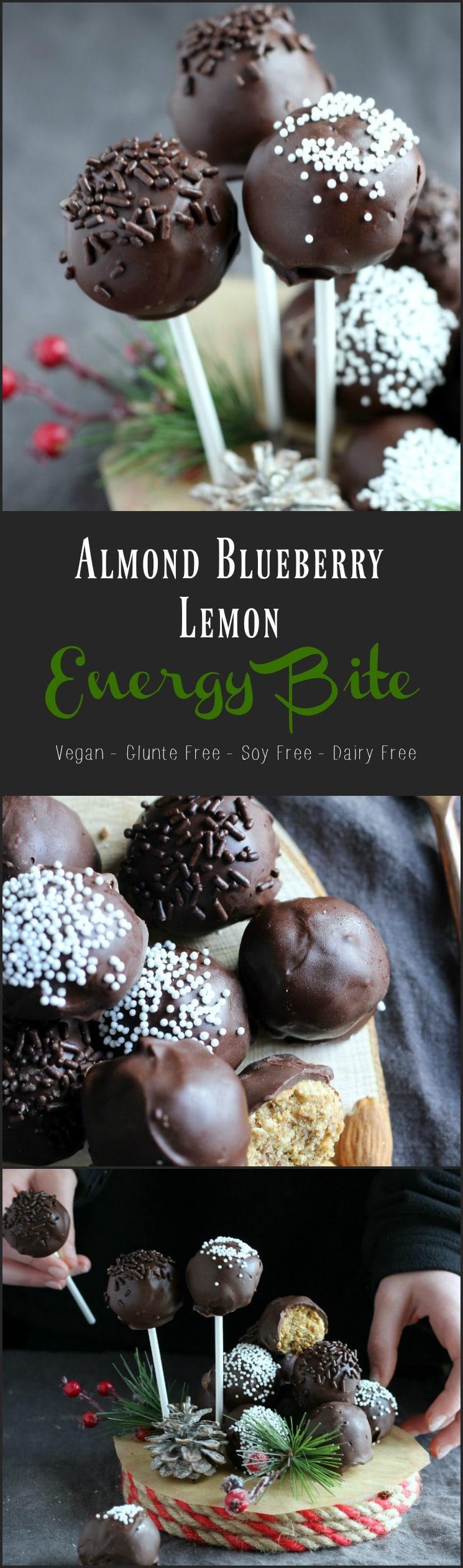Almond Blueberry Lemon Chocolate Energy Bite the ULTIMATE Healthy Snack | gardeninthekitchen.com
