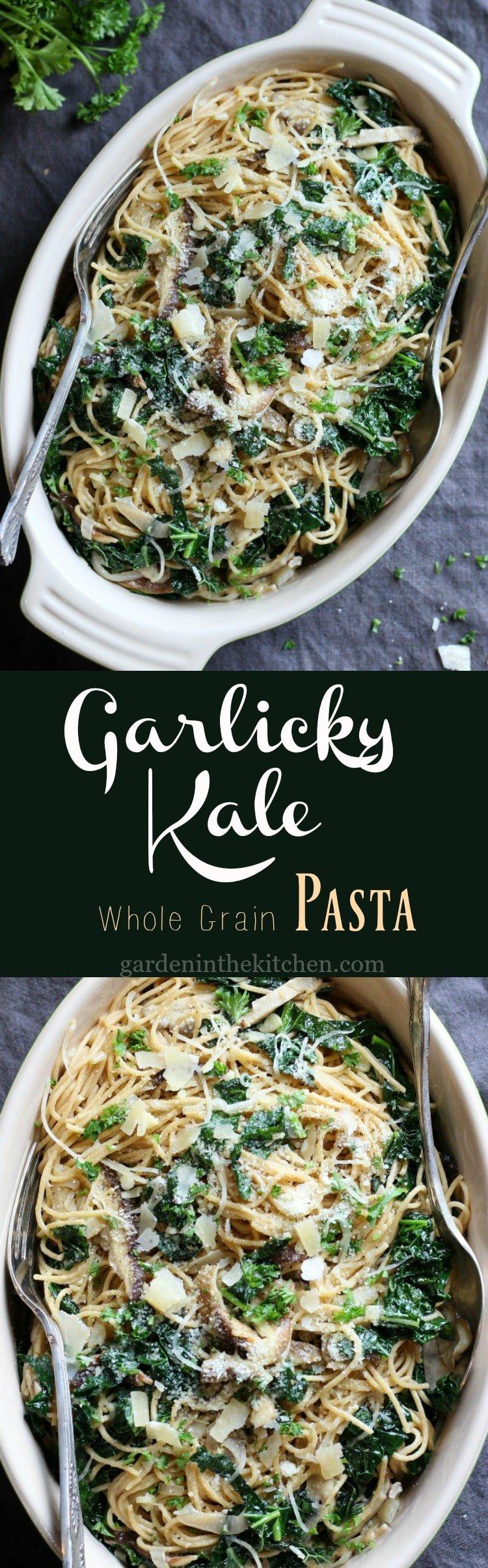 Garlicky Kale & Mushroom Pasta | gardeninthekitchen.com