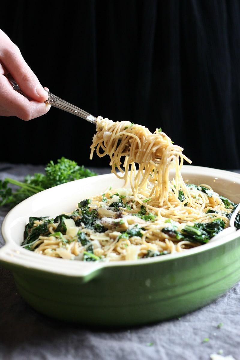Garlicky Kale & Mushroom Pasta   gardeninthekitchen.com