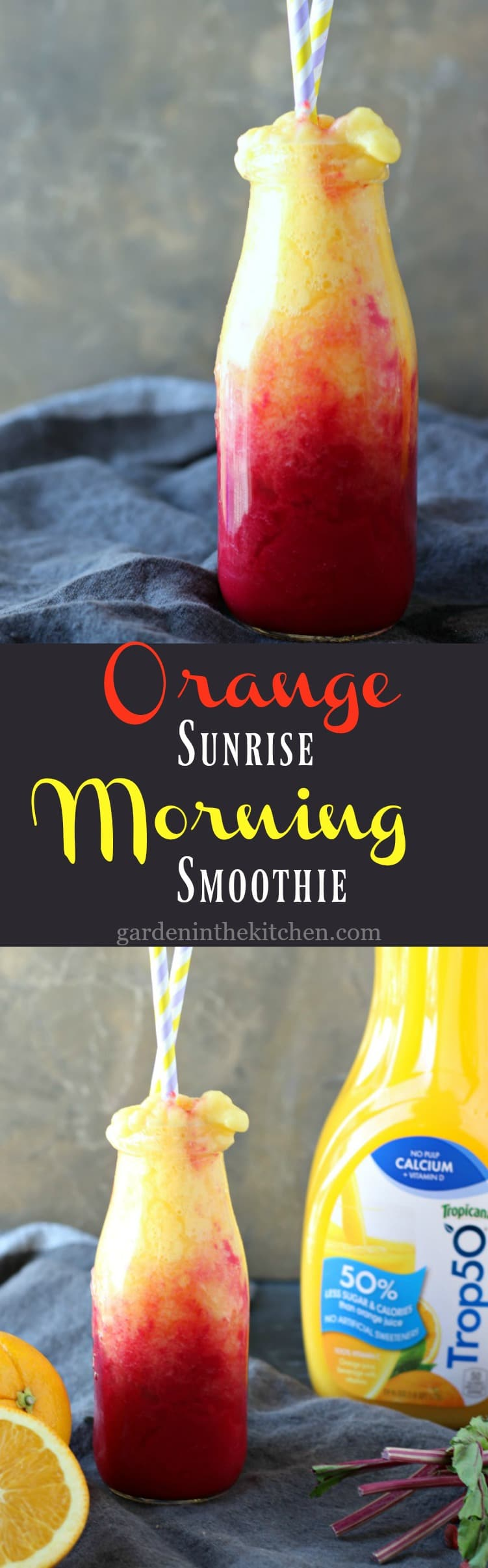 Orange Juice Smoothie in a bottle with two straws