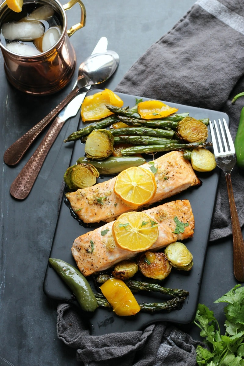 Sheet Pan Garlic Lemon Salmon | gardeninthekitchen.com