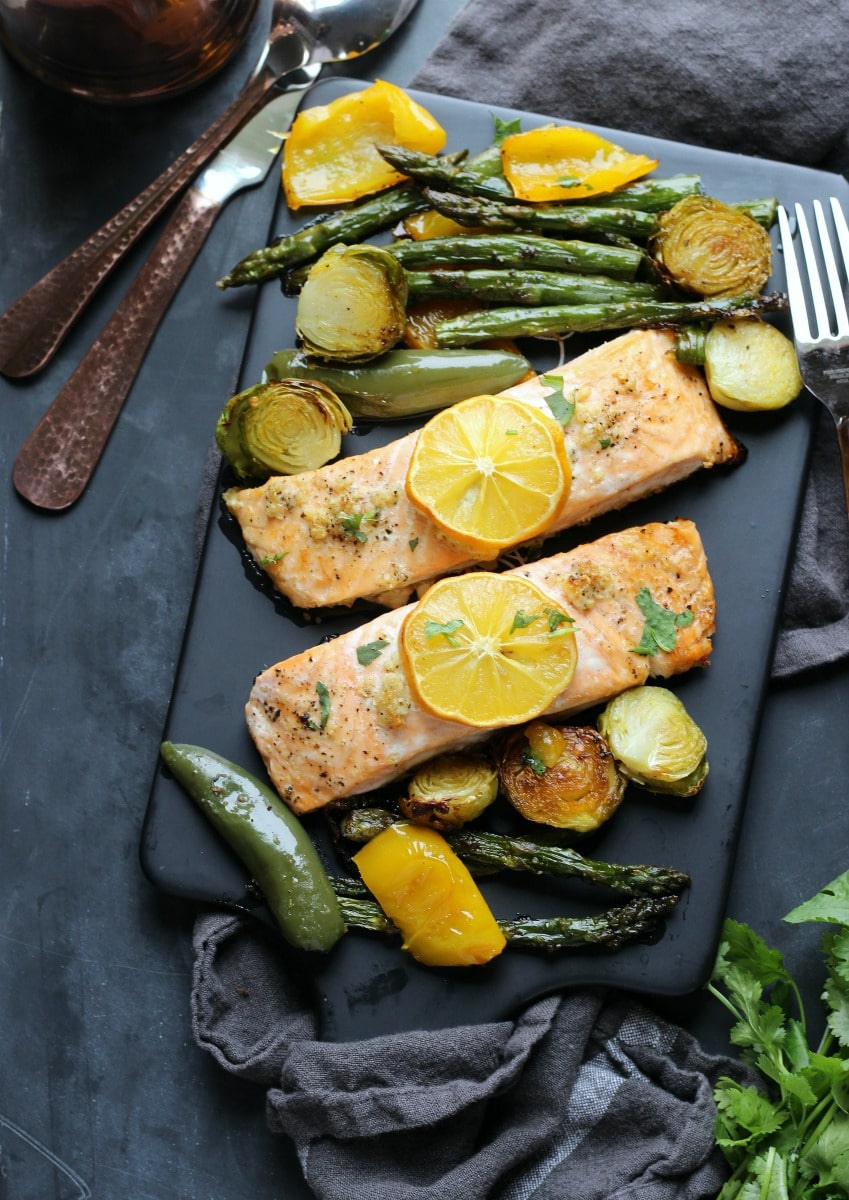 Sheet Pan Garlic Lemon Salmon | gardeninthekitchen.com