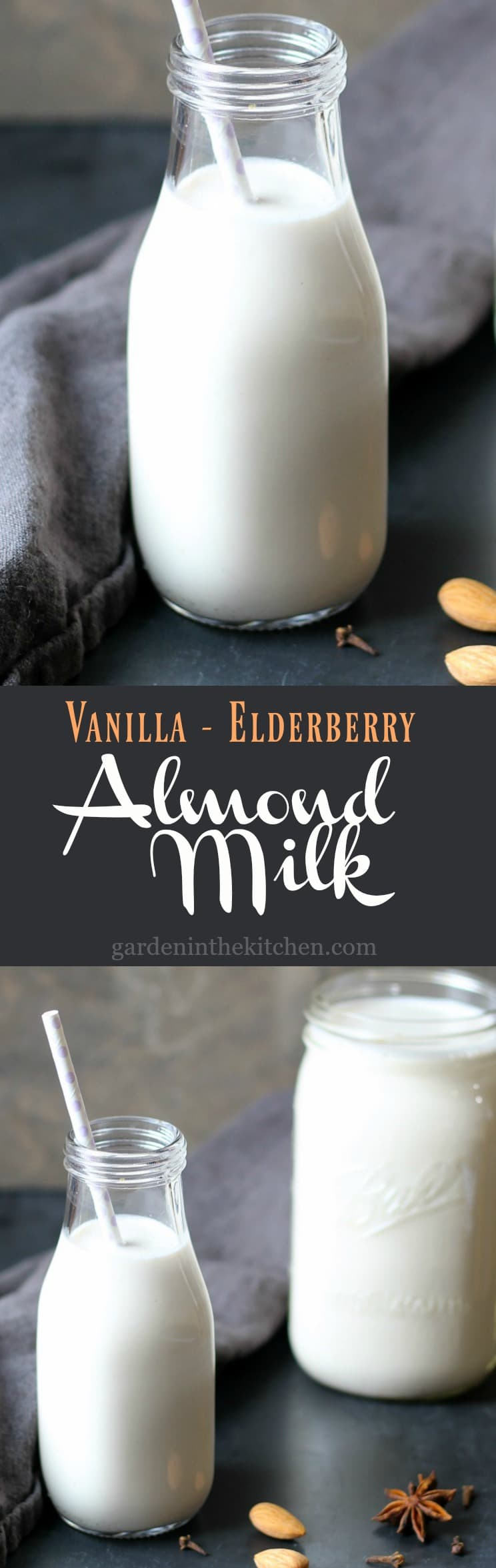 Vanilla Elderberry Infused Almond Milk | gardeninthekitchen.com