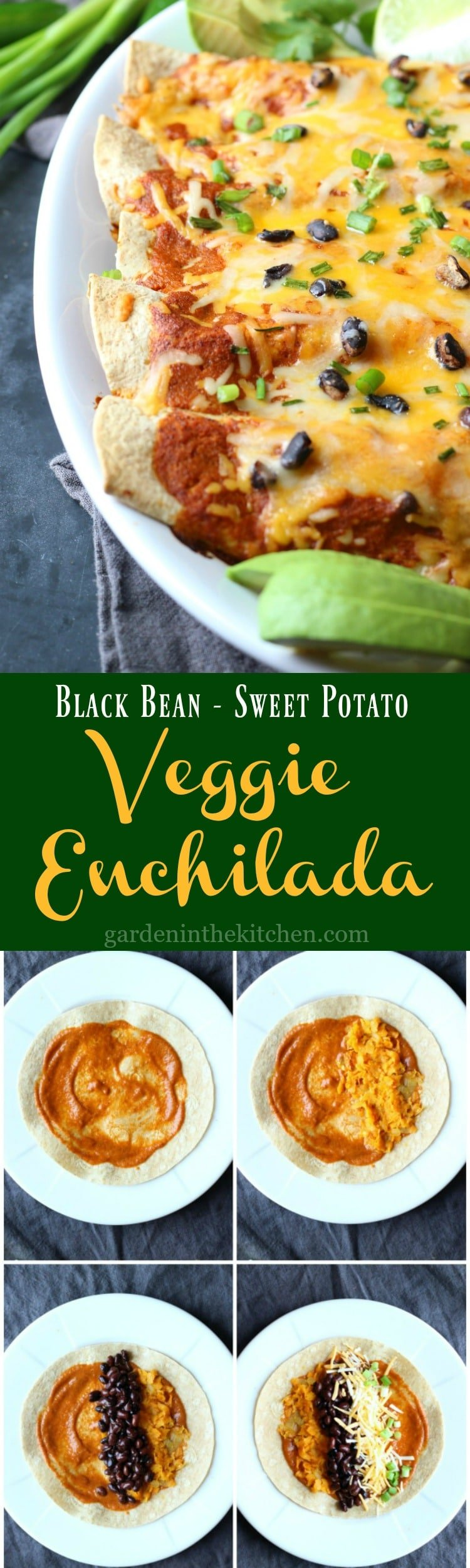 Black Bean Enchilada (Vegetarian) |gardeninthekitchen.com