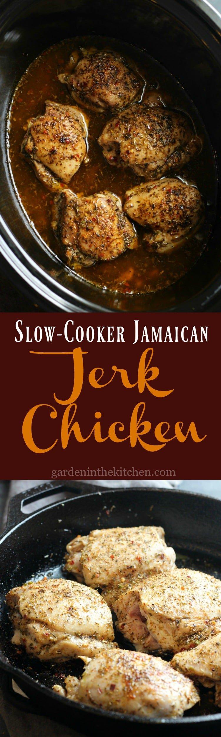 Slow Cooker Jamaican Jerk Chicken | gardeninthekitchen.com