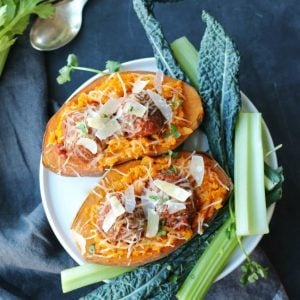 Loaded Sweet Potato & Meatballs