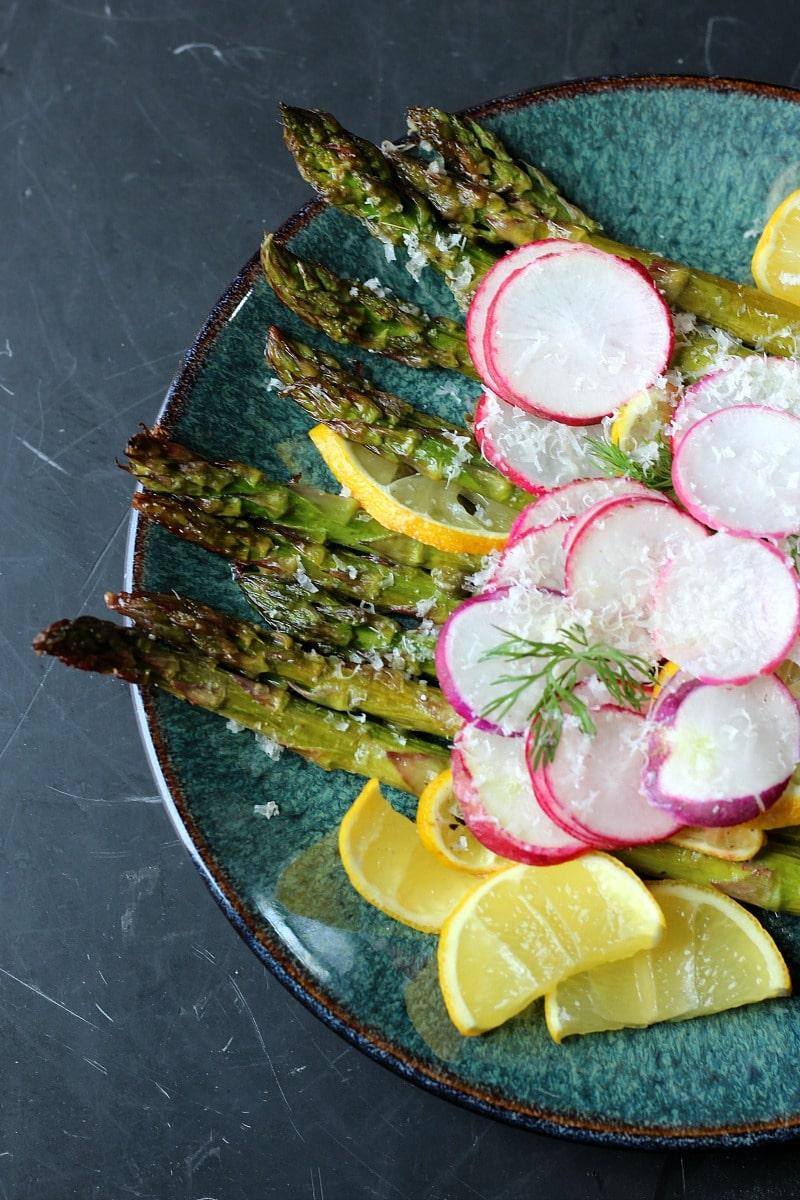 Lemon Capers Roasted Asparagus & Radishes