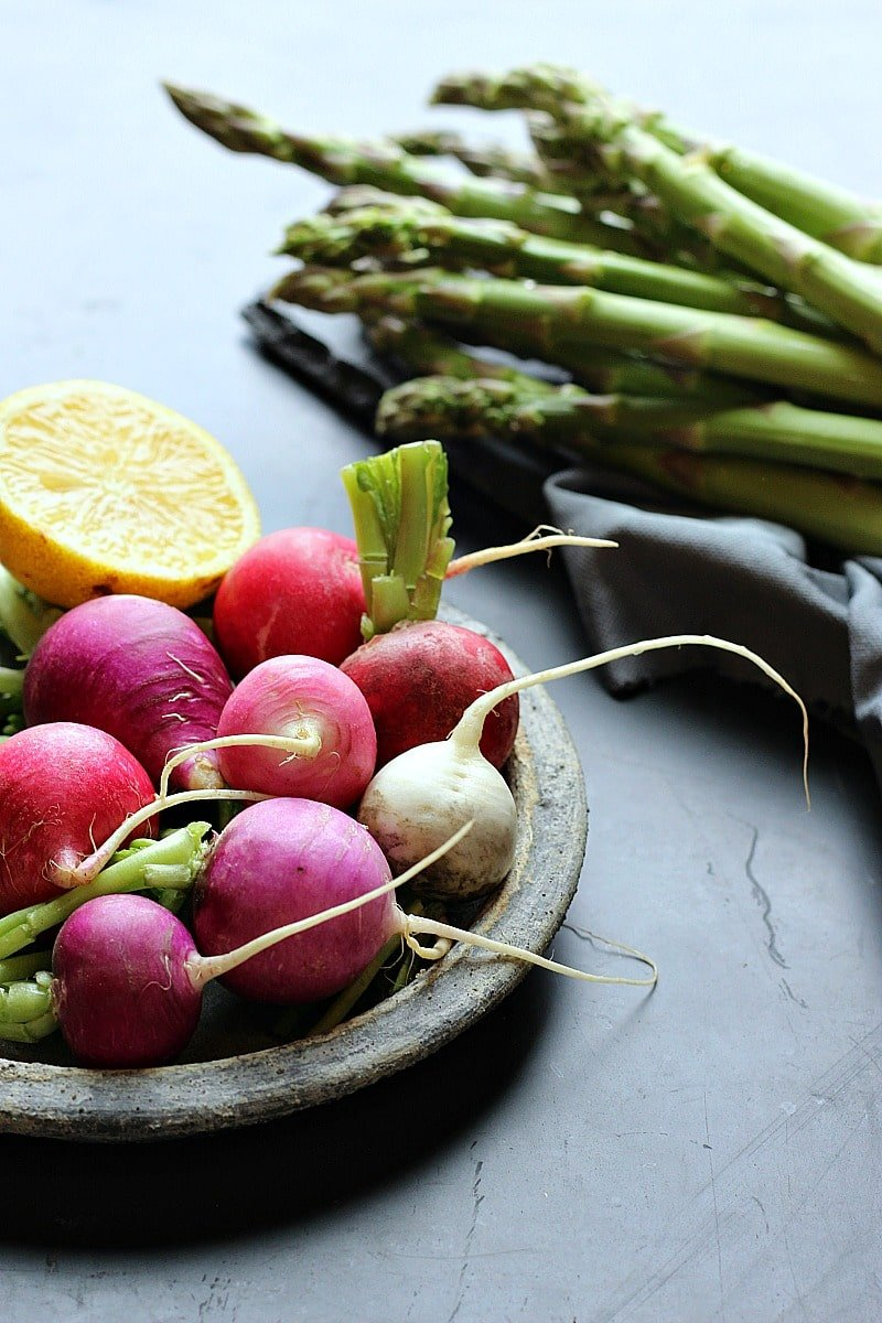 Lemon Capers Roasted Asparagus & Radishes