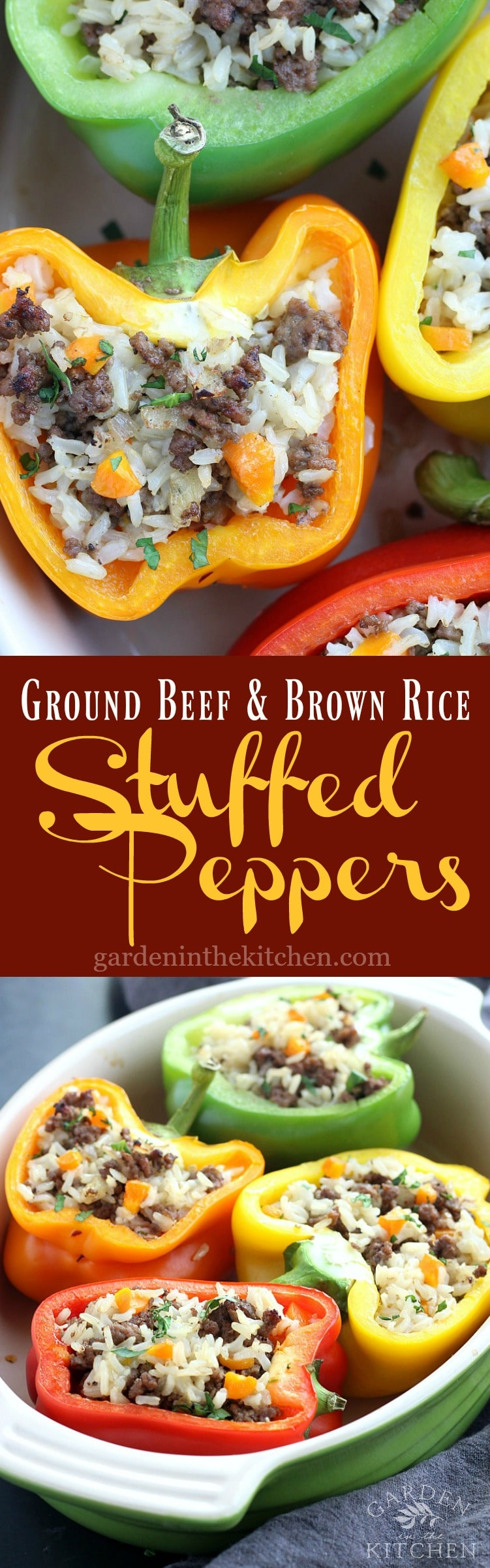 Ground Beef & Brown Rice Stuffed Peppers