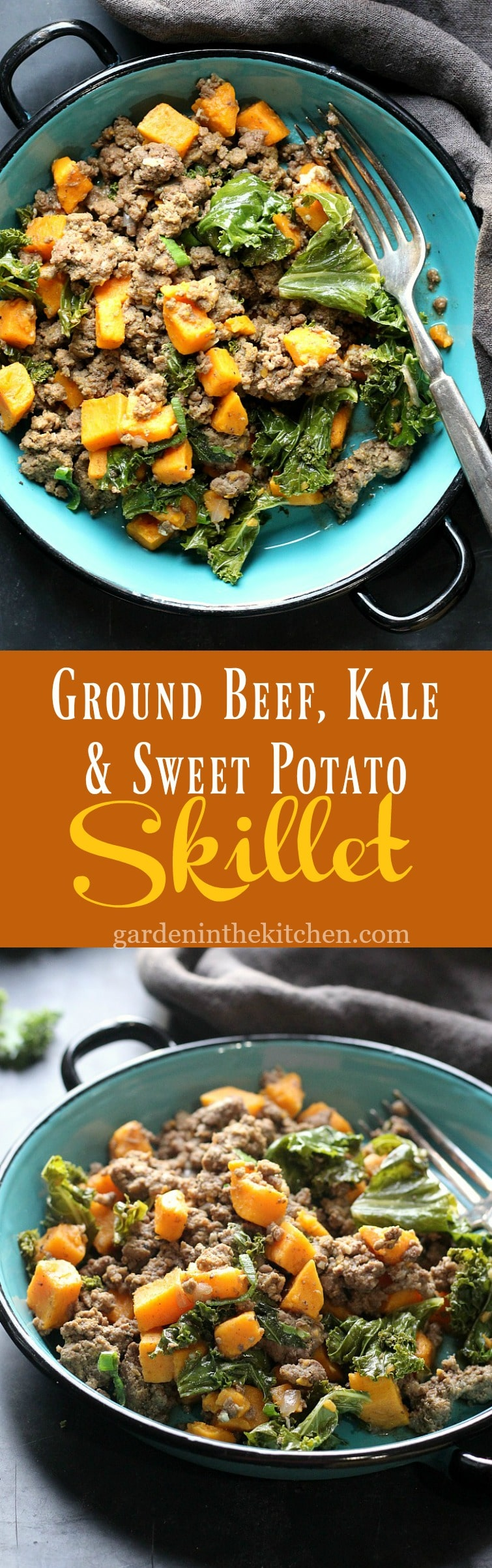 Ground Beef, Kale & Sweet Potato Skillet