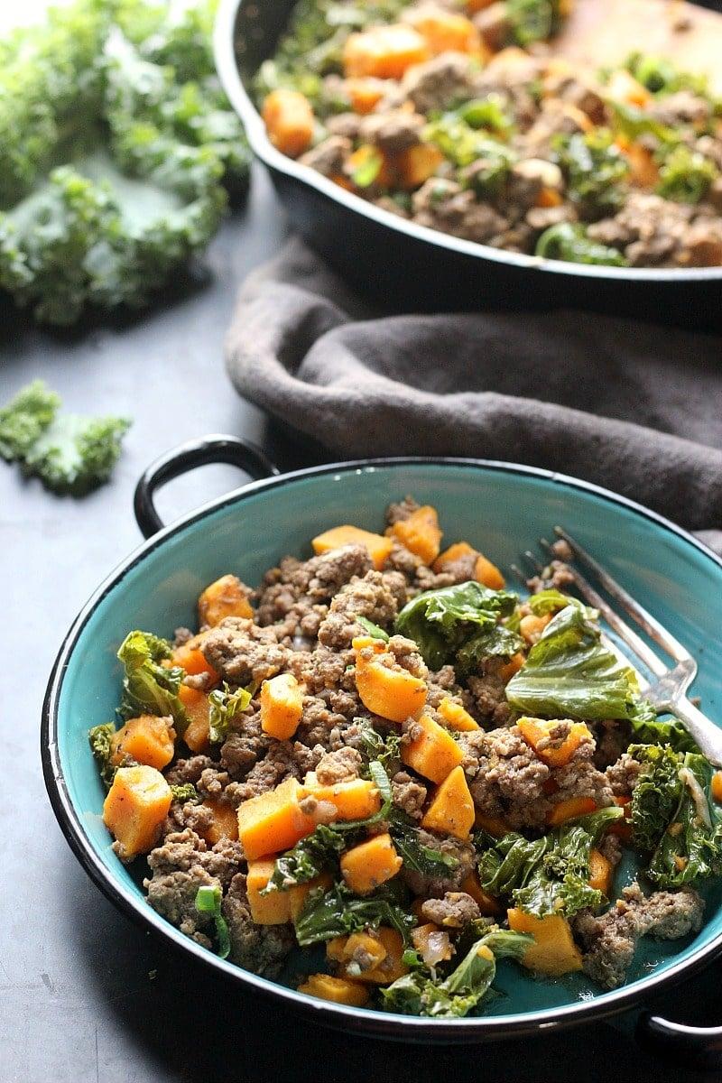 Ground Beef, Kale & Sweet Potato Skillet