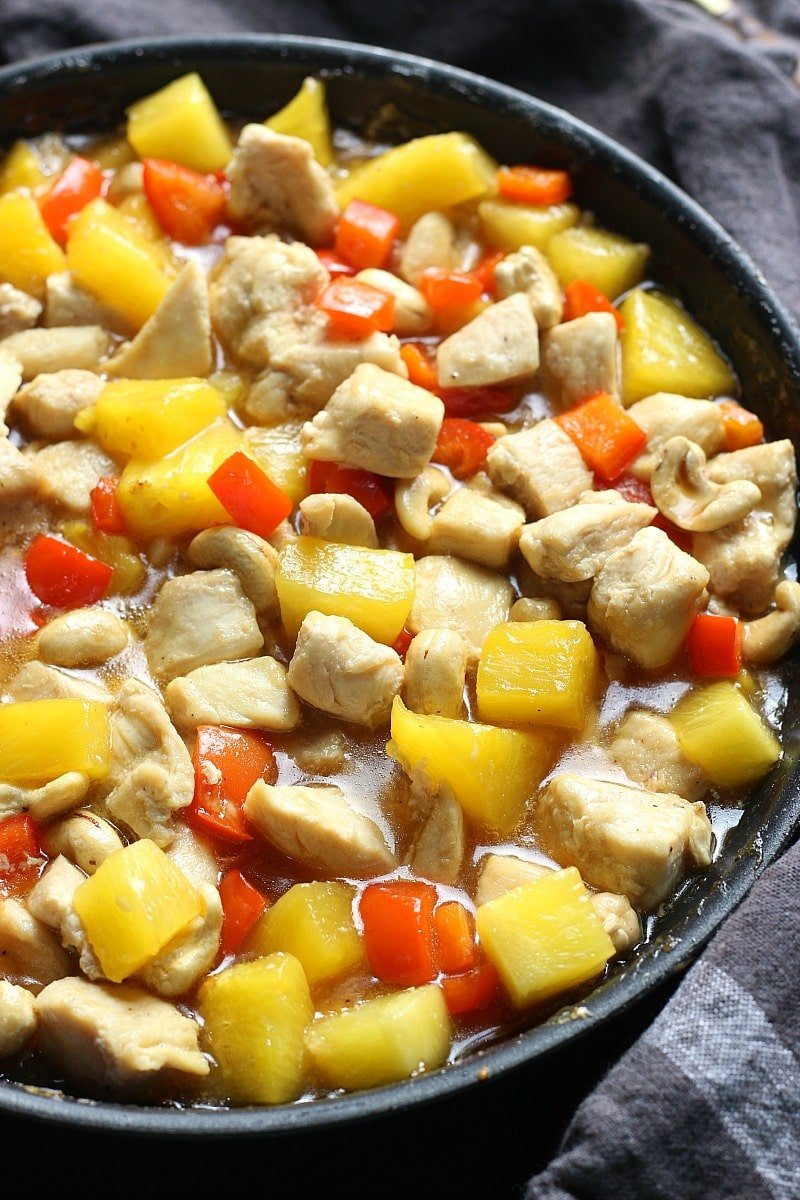 Low Carb Healthier Chinese Cashew Pineapple Chicken