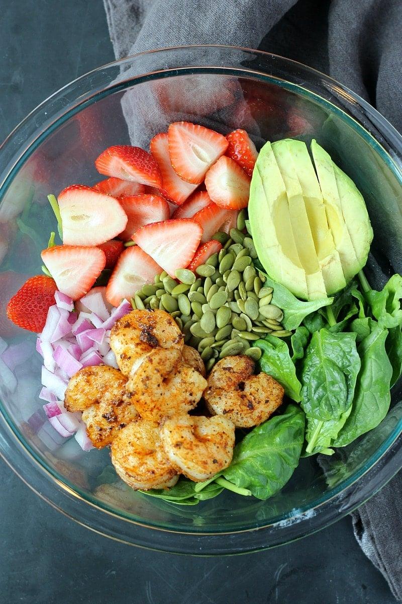 Strawberry Avocado Spinach Salad with Shrimp