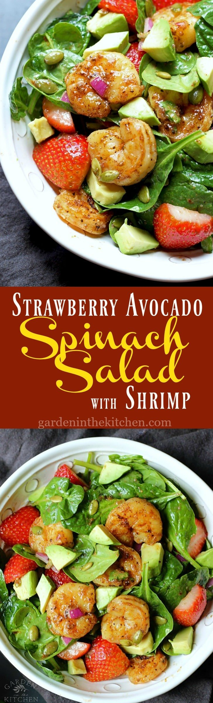 Strawberry Avocado Spinach Salad with Shrimp