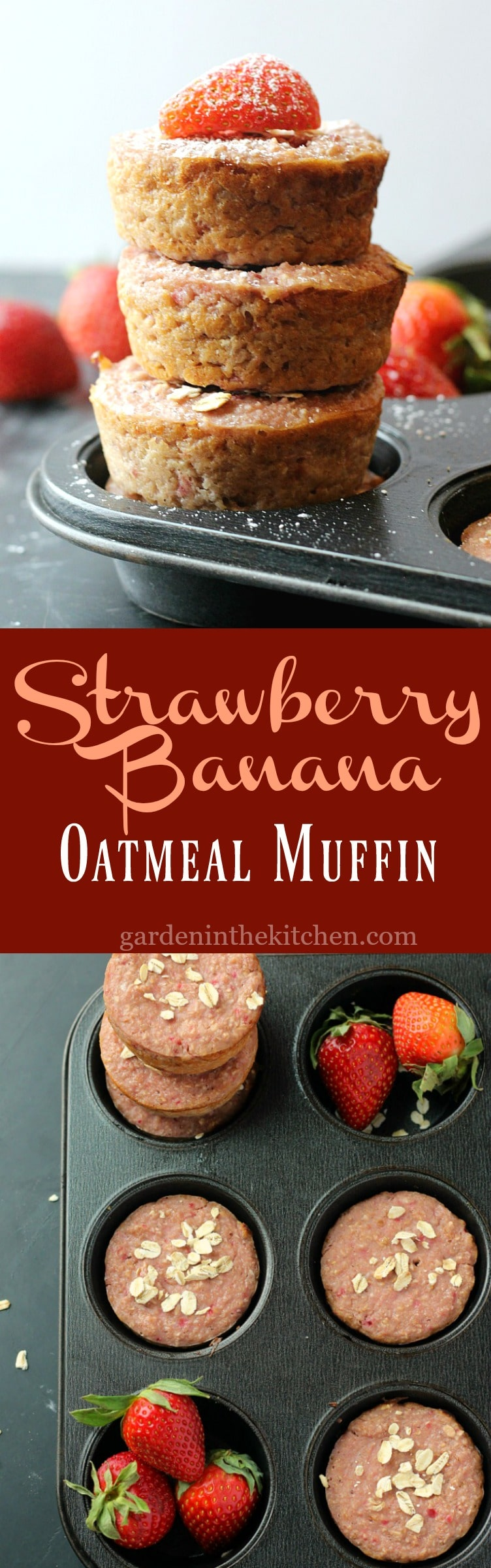 Healthy Strawberry Banana Oatmeal Muffins