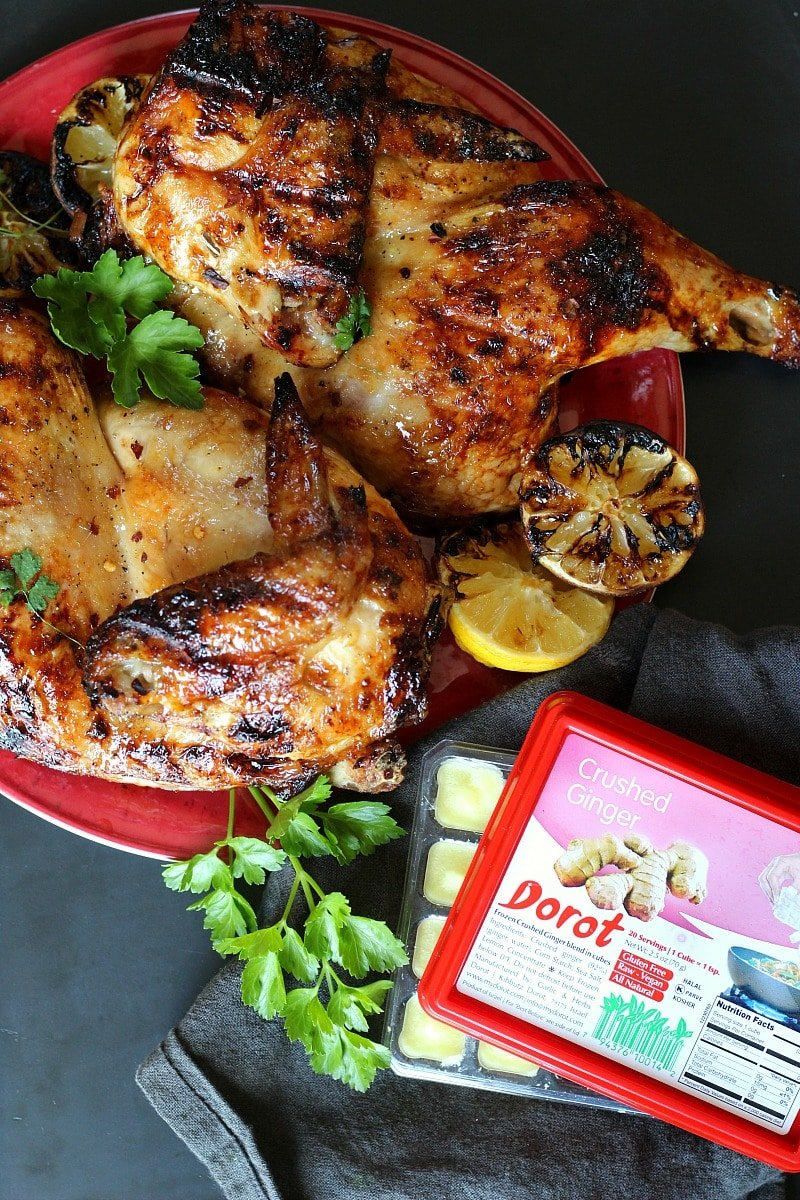 Grilled Split Chicken with Dorot Ginger & Honey
