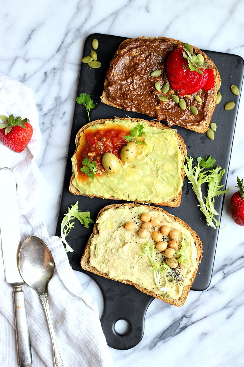 Chocolate Hummus Avocado Toast 3-Ways | Garden in the Kitchen