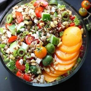 Mediterranean Lentil Quinoa Rice Salad