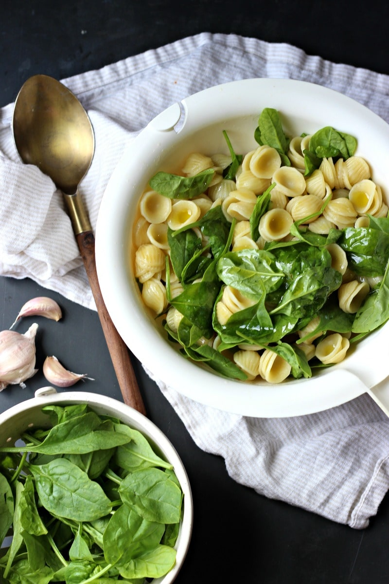 Roasted Garlic Spinach Orecchiette