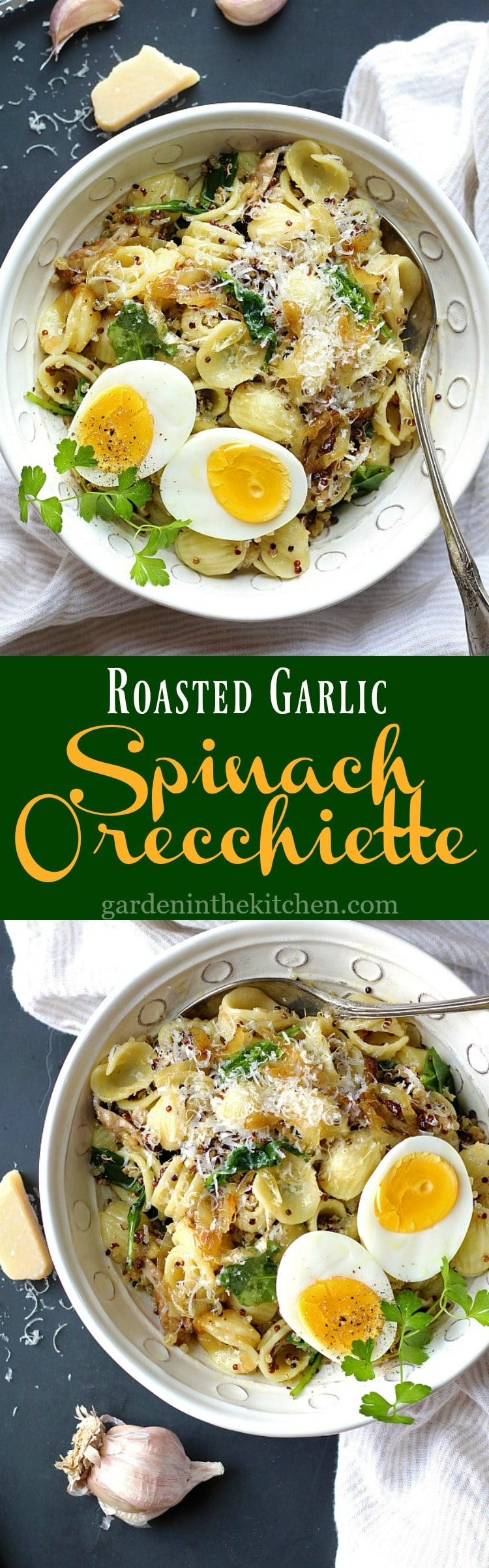 Roasted Garlic Spinach Orecchiette