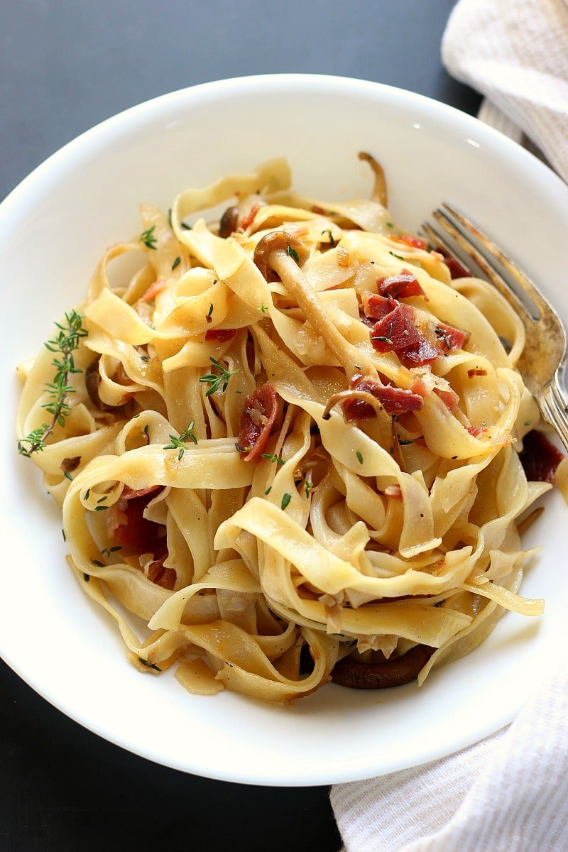 Mushroom Prosciutto Fettuccini | Garden in the Kitchen