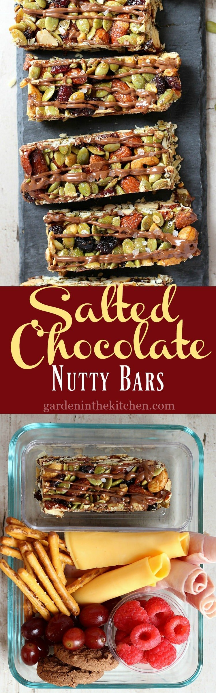 Salted Chocolate Nutty Bars | Garden in the Kitchen