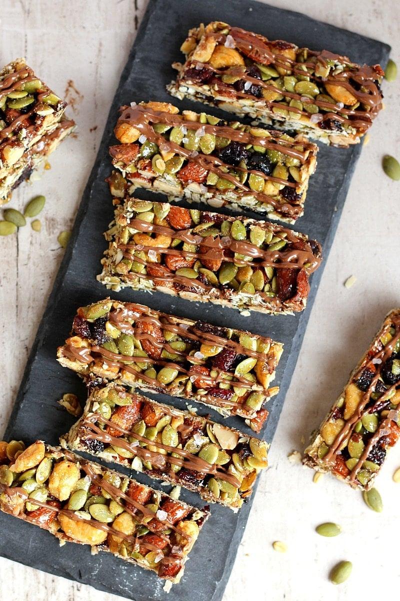 Salted Chocolate Nutty Bars | Garden in the Kitchen