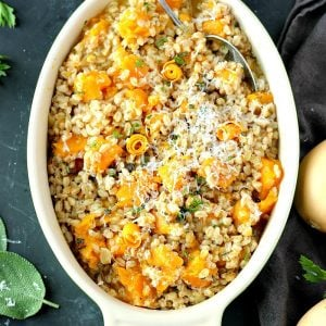 Instant Pot Butternut Squash Farro Risotto | Garden in the Kitchen