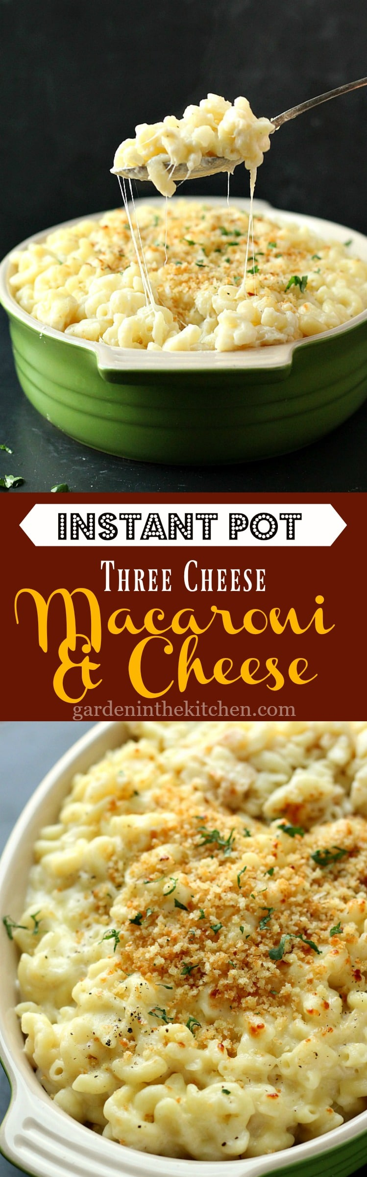 Instant Pot Three Cheese Macaroni | Garden in the Kitchen