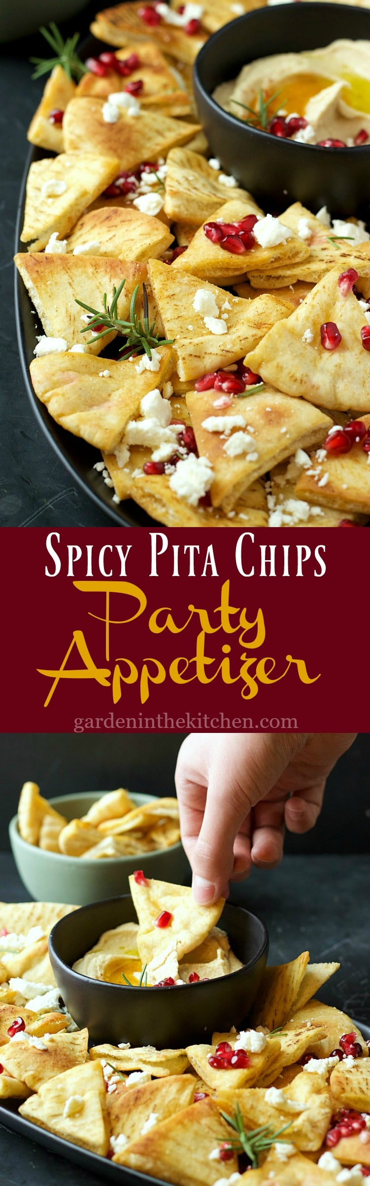 Spicy Pita Chips Party Appetizer | Garden in the Kitchen