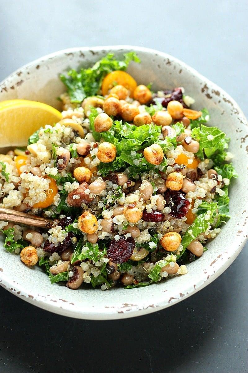 Black Eye Pea Salad with Quinoa + Kale! | Garden in the Kitchen