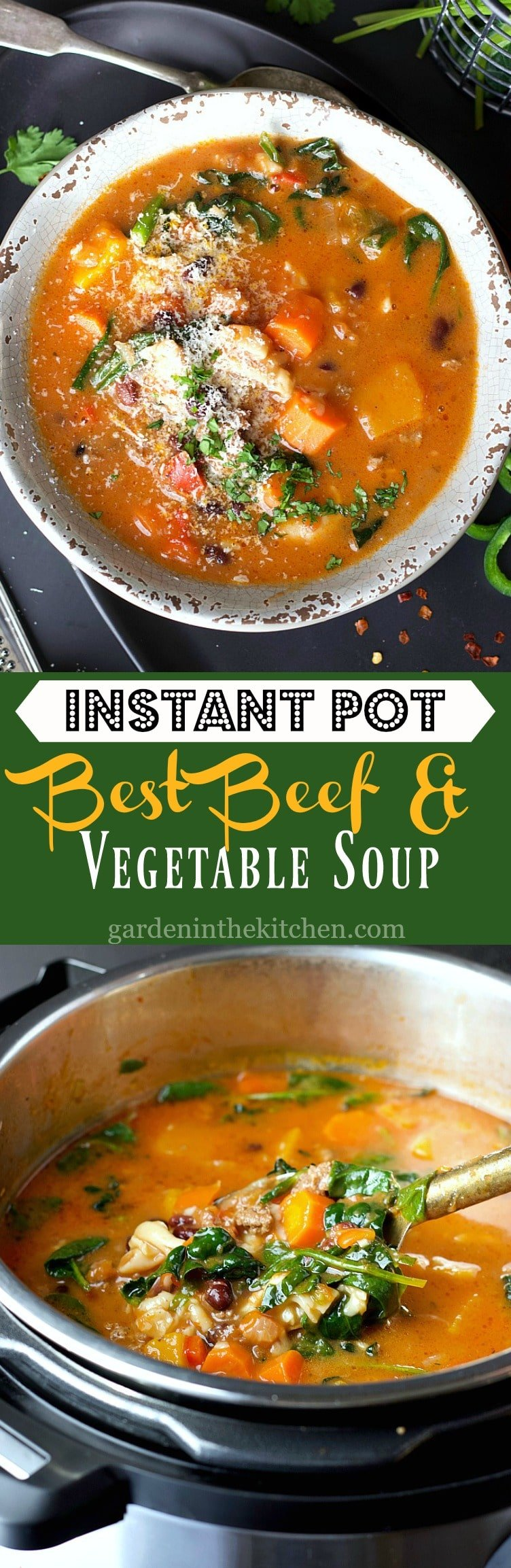 This Instant Pot Beef and Vegetable Soup packs in all the protein, carbs, vegetables and greens, all in one comforting bowl of soup!