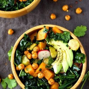 Roasted Brussels and Butternut Squash Kale Salad