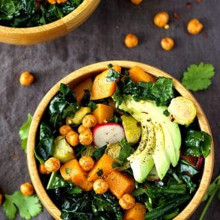 Roasted Brussels and Butternut Squash Kale Salad | Garden in the Kitchen