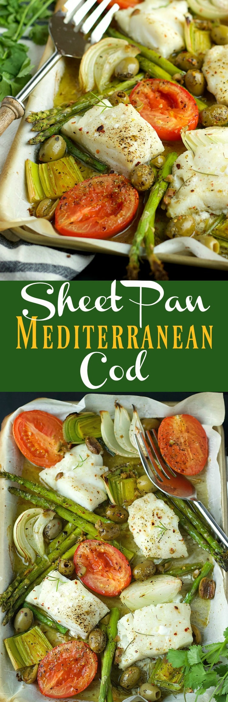 This Sheet Pan Mediterranean Cod is a quick and easy 20 minute hands-free dinner, loaded with veggies and perfect for the week.