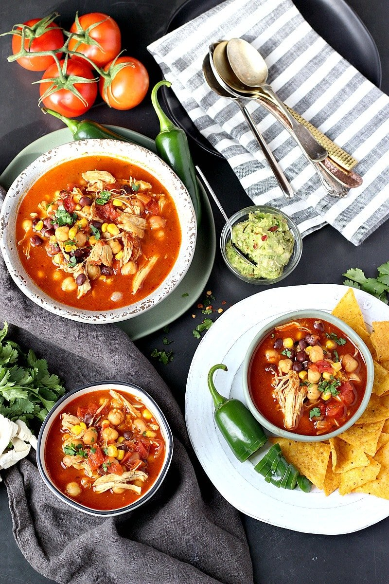 BEST Mexican Soup Recipe! Instant Pot perfection, packed with chicken, beans, corn and chickpeas!