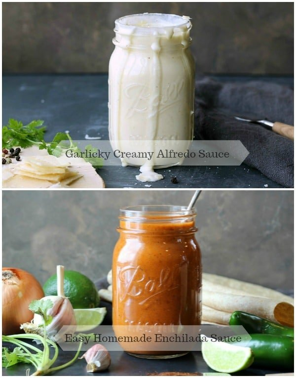 Garlic Creamy Alfredo Sauce and Homemade Enchilada Sauce