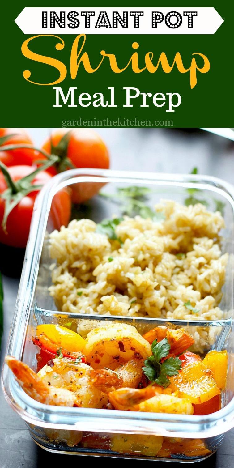 Instant Pot Brown Rice Shrimp Meal Prep