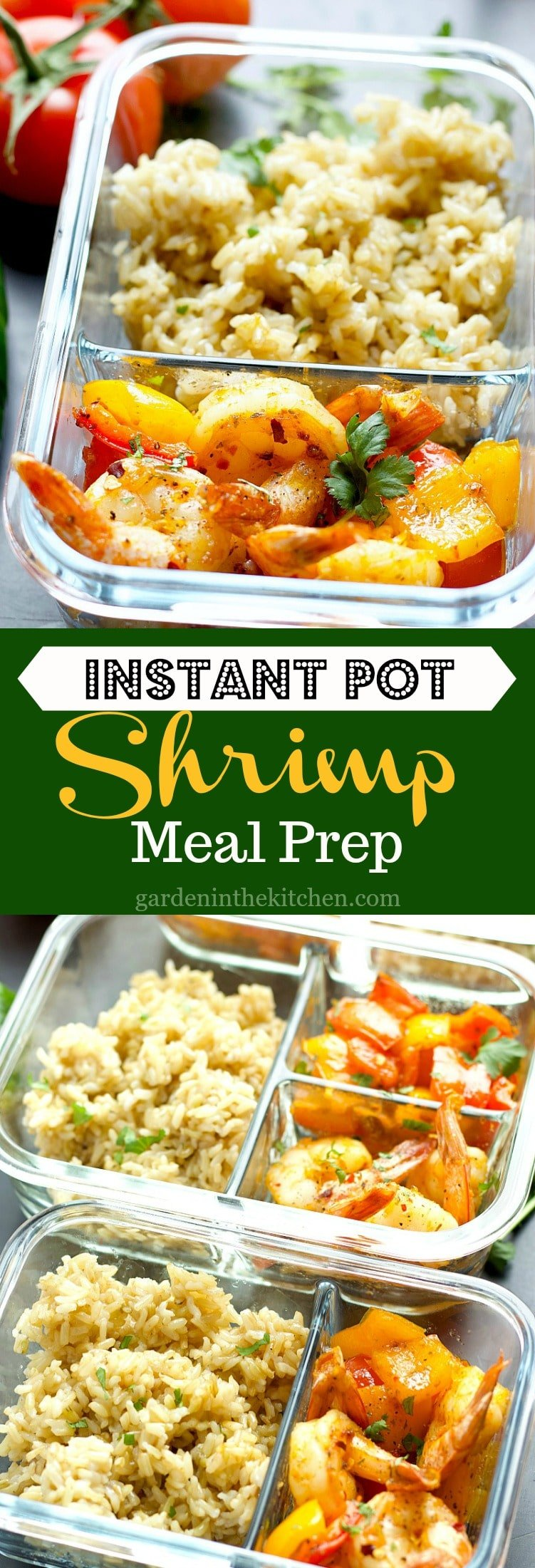 Instant Pot Brown Rice Shrimp Meal Prep