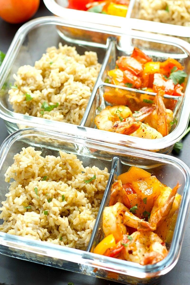 Instant Pot Shrimp - Meal Prep Bowls!