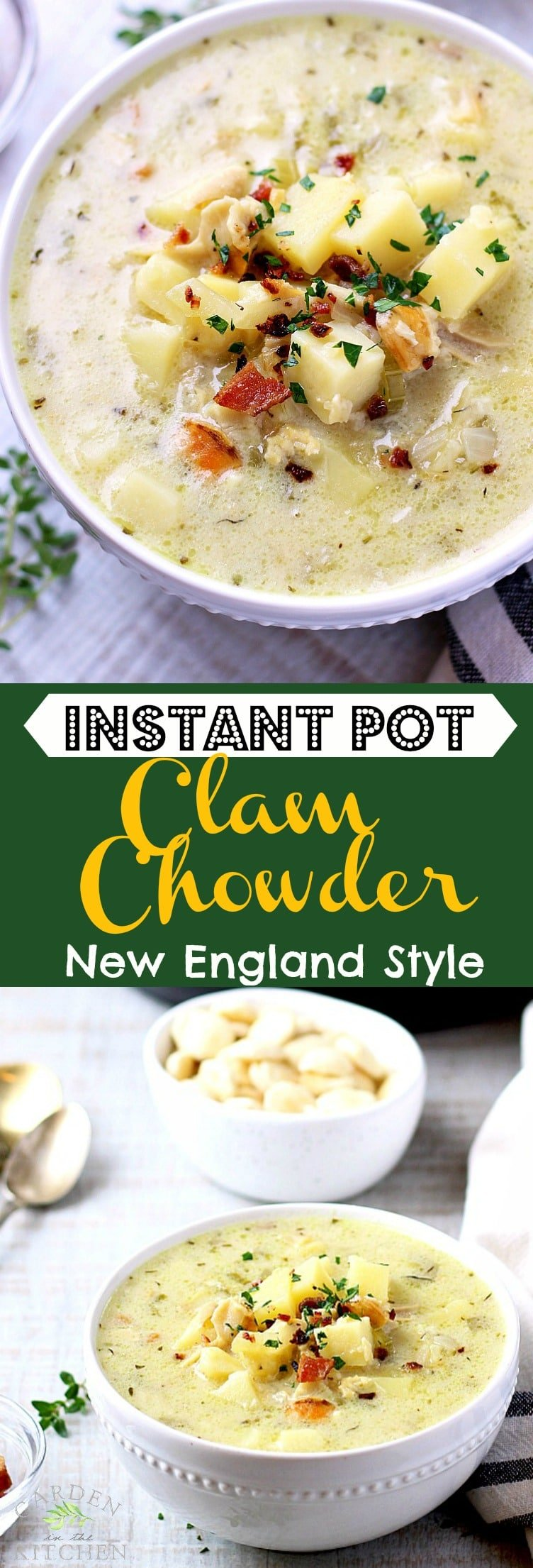The classic New England Clam Chowder in a lighter form, less creamy but just as flavorful and rich!