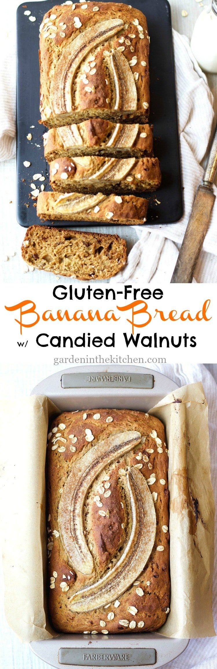 Gluten-Free Banana Bread with Candied Walnuts