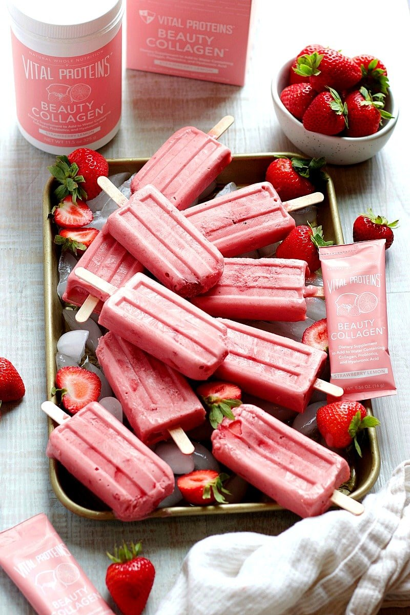 Strawberry Yogurt Collagen Popsicles